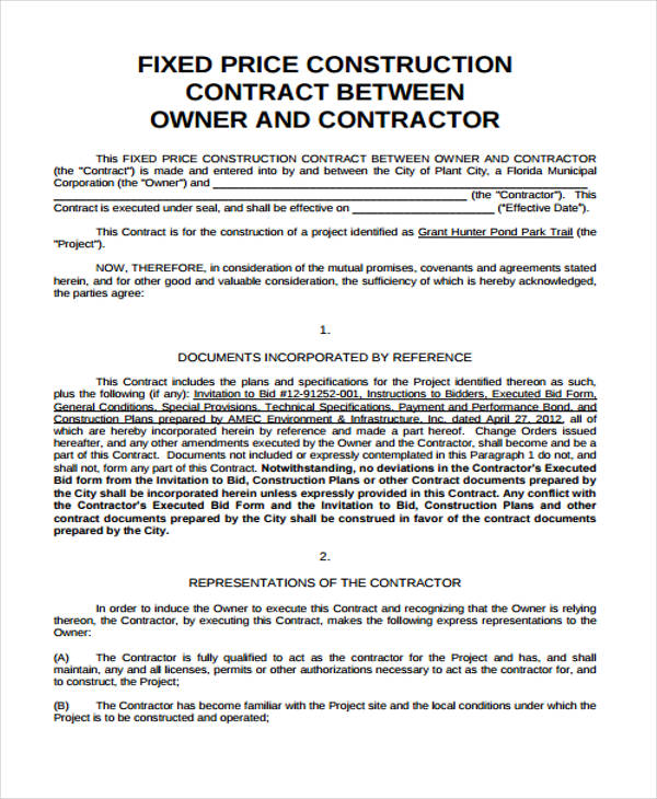120 Fixed Price Construction Contract Template - construction