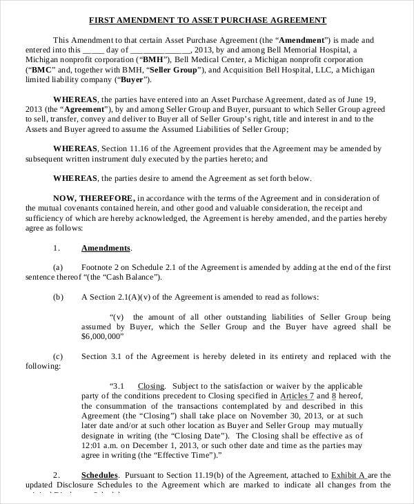 10+ Asset Purchase Agreement Form Sample - Free Sample, Example