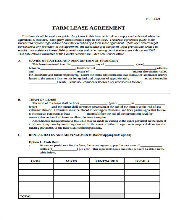 40 Sample Lease Agreement Forms - free blank lease agreement forms