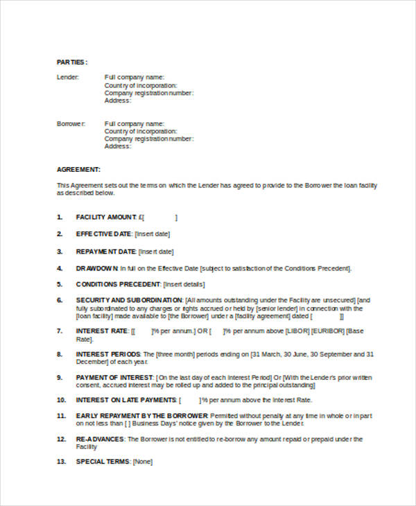 Loan Agreement Form Word - company loan agreement template
