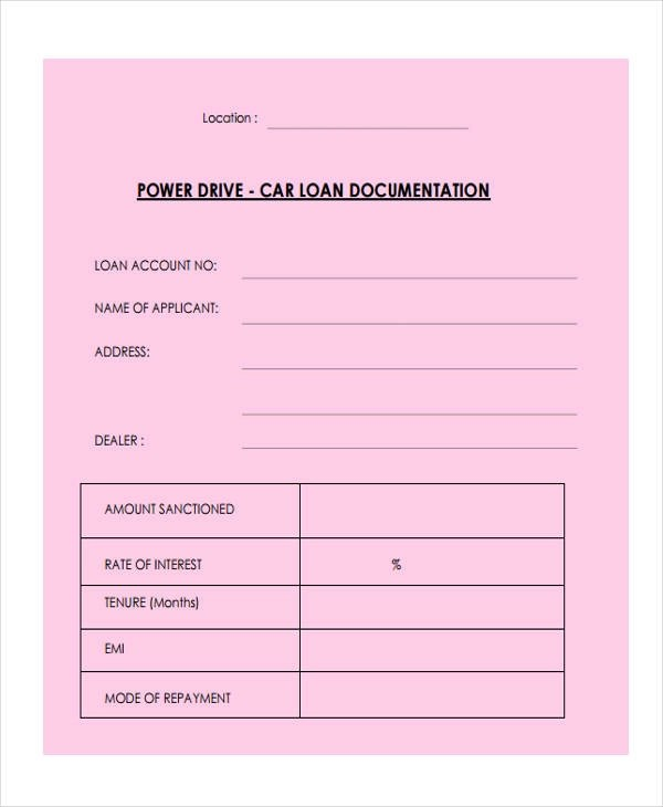 Loan Agreement Form Example - 65+ Free Documents in Word, PDF - free car loan agreement form
