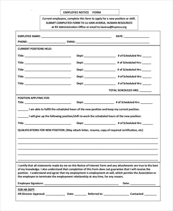 More Gallery Of Free Notice Forms