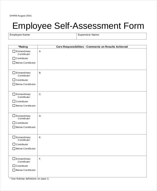 Free-Employee-Self-Assessment-Formjpg - free assessment forms