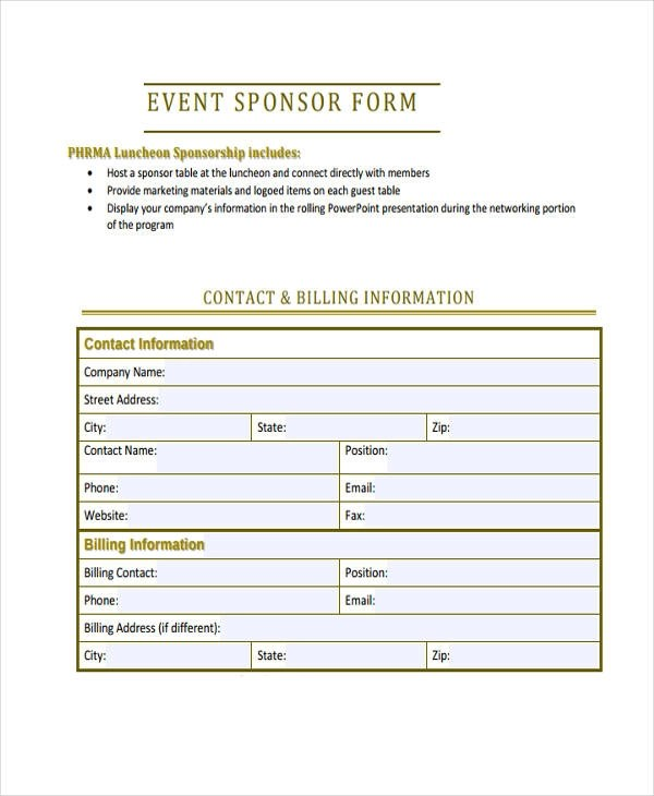 Charity Sponsorship Form Template – Generic Sponsorship Form
