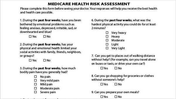 Free Health Assessment Form