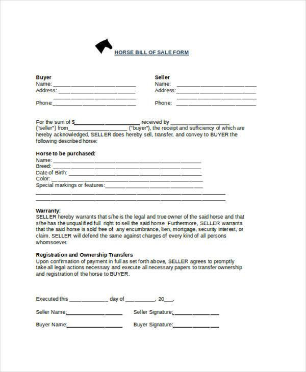 Bill Of Sale Form Horse Trailer | Cover Letter Application College