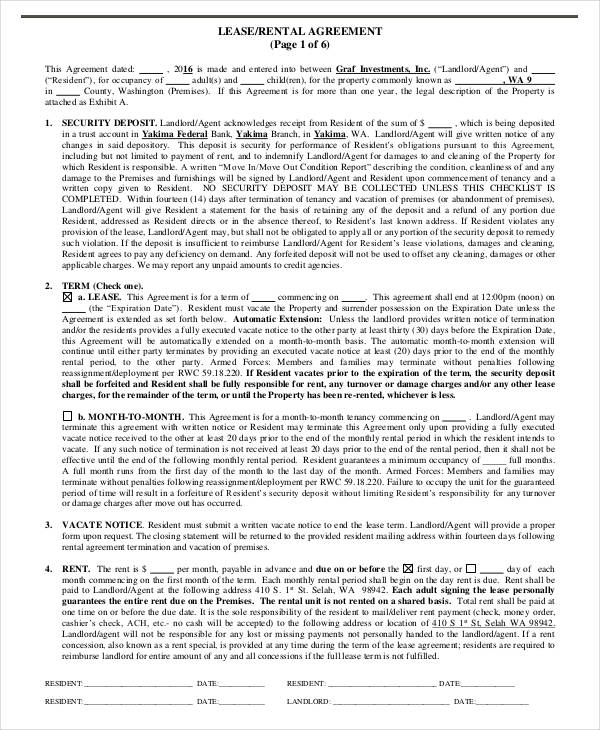 Lease Agreement Form Template - lease rental agreement