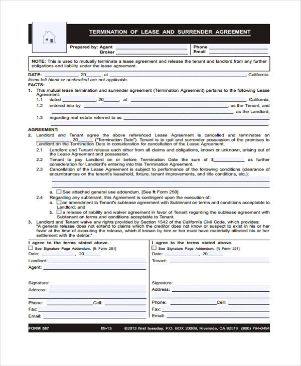 40 Sample Lease Agreement Forms - lease termination form