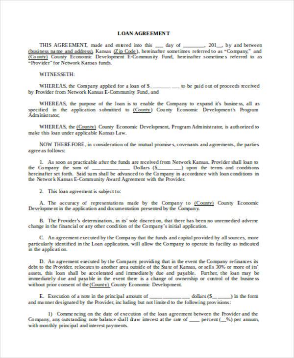 Loan Agreement Form Word - loan agreement form sample