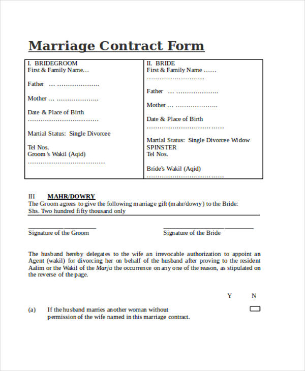 37 Contract Forms in Doc - marriage contract template