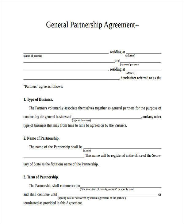 Agreement Forms in PDF - Free Partnership Agreement Form
