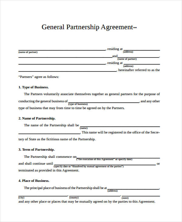free business agreement form - Teacheng - Free Partnership Agreement Form