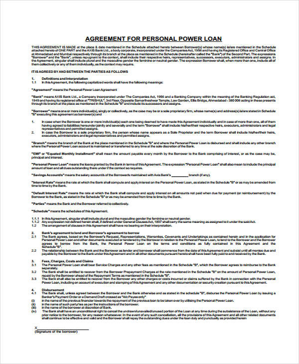 Loan Agreement Form Template - free personal loan agreement form