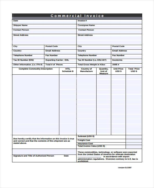34 Invoice Form Examples - Free Printable Invoice Forms