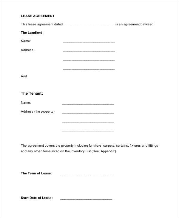 Lease Agreement Form Template - printable rental agreement forms