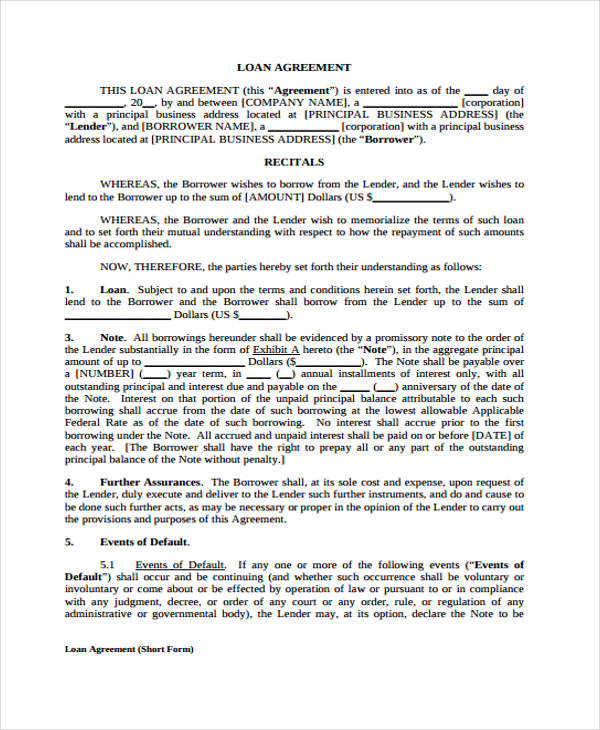loan forms template – Loan Agreement Forms