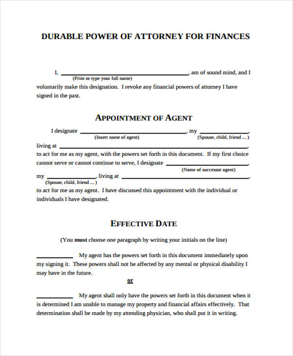 Power of Attorney Form Template - blank power of attorney form