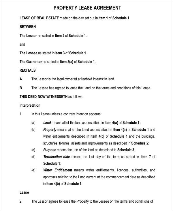 Doc#736952 Free Property Lease Agreement u2013 Printable Sample - property lease agreement template