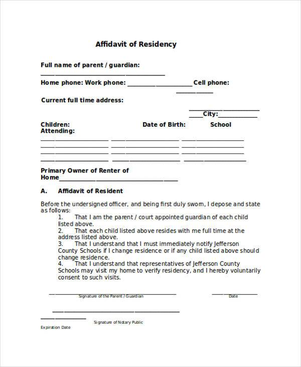 free affidavit of residence form How To Have A Fantastic - free affidavit forms online