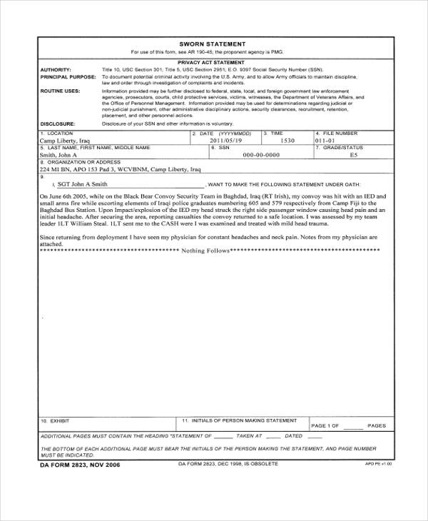 Sworn Statement Example. free sample, example format download 7+ ...