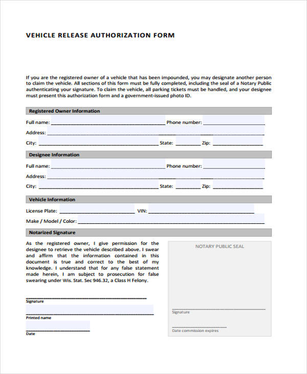 14+ Vehicle Authorization Form Samples - Free Samples, Examples - vehicle release form