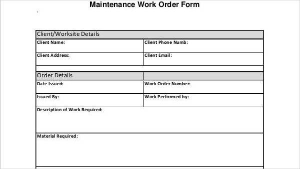 Free Work Order Forms