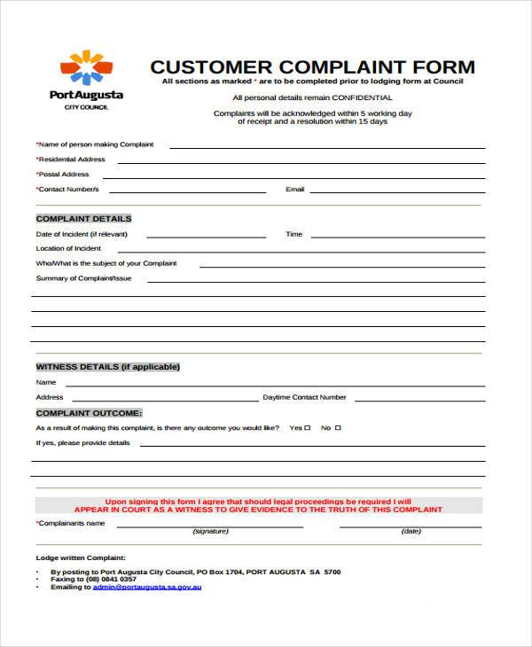 Complaint Form Templates - customer complaints form template