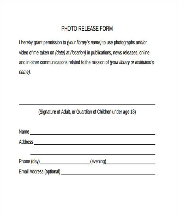 Release Form Templates - photography release form