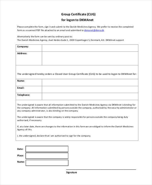 Certificate Form Templates