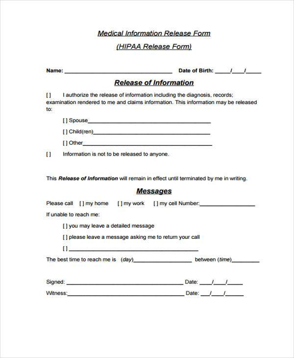 Release Form Templates - Patient File Template