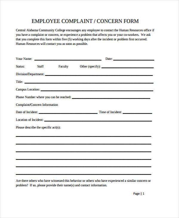 Hr Complaint Form - Resume Template Sample