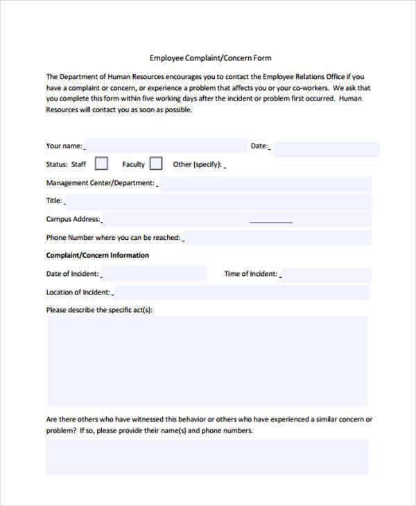 29 HR Form Templates   Hr Complaint Form