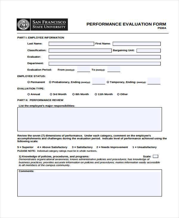Hr Evaluation Form Hr Performance Evaluation Form Sample 8+ Hr - hr form