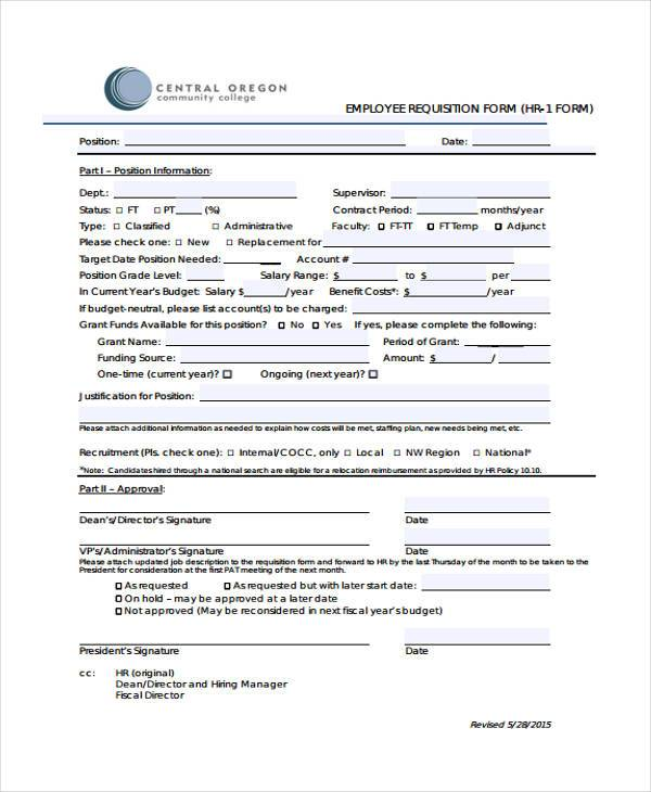 29 HR Form Templates - employee requisition form