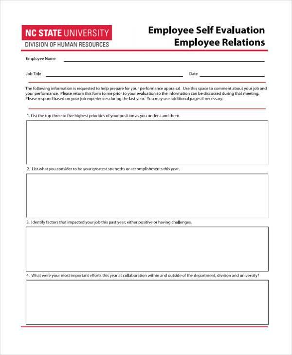 hr evaluation form plainresume - employee self evaluation form