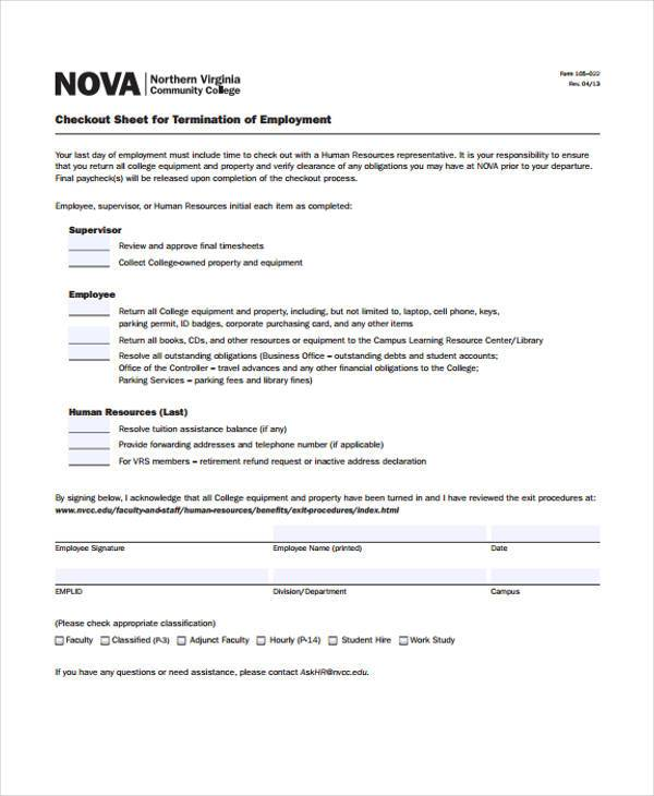 29 HR Form Templates - employee equipment check out form
