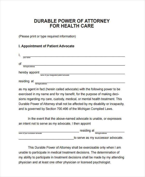 Power of Attorney Forms in PDF - sample health care power of attorney form