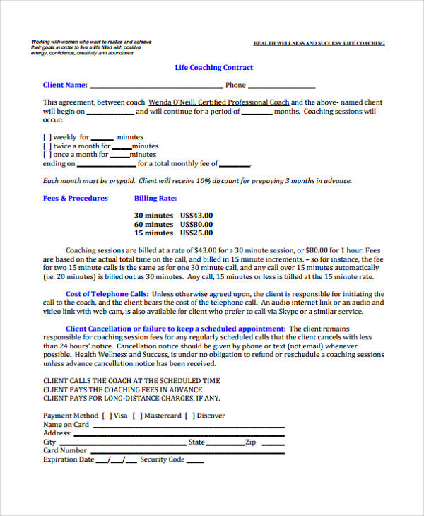 Sample Contract Templates Coaching Contract Template Health