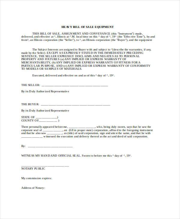 Bill of Sale Form in Word - equipment bill of sale