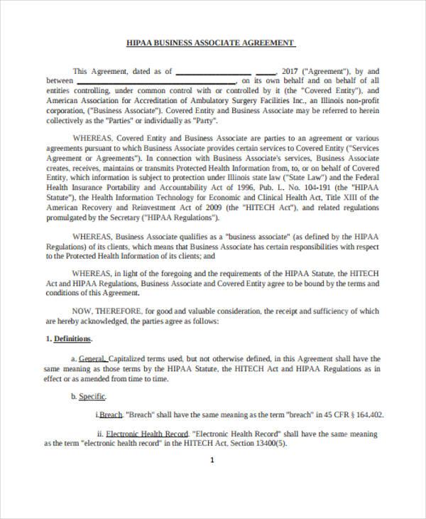 Business Associate Agreement Template Hipaa Business Associate