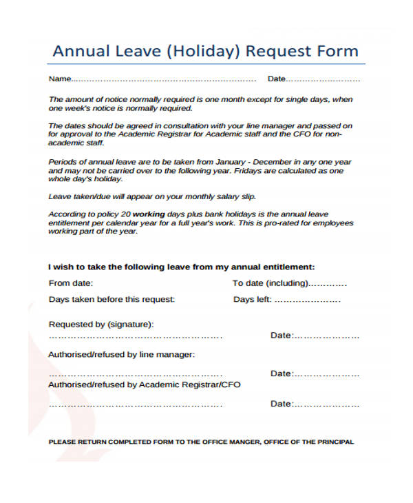annual leave application form – Holiday Request Form