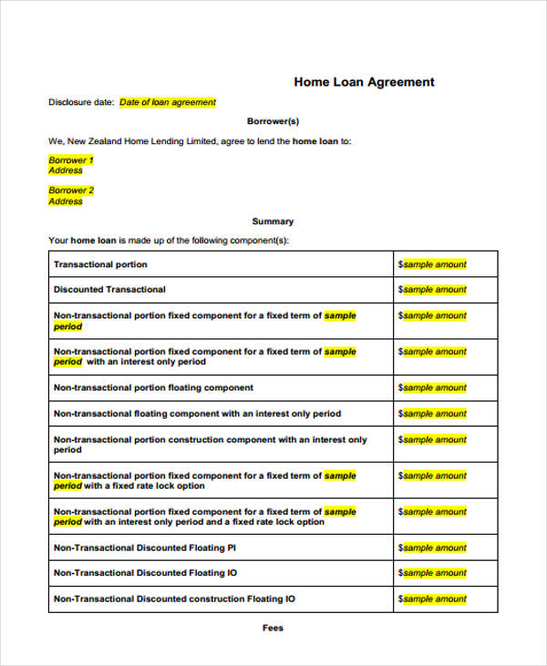 Loan Agreement Form Template - loan agreement example