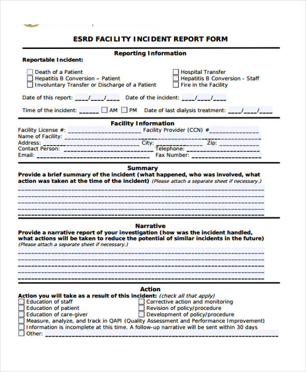... Sample Incident Report Form   Sample Incident Reports ...