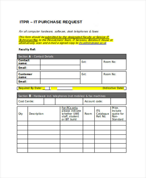 Request Forms in Word - purchase request form