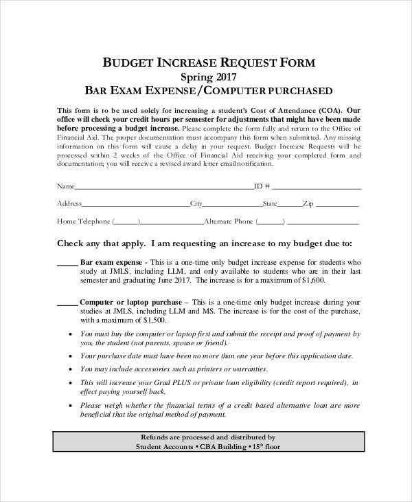 9+ Sample Budget Request Form - Free Sample, Example Format Download - sample budget