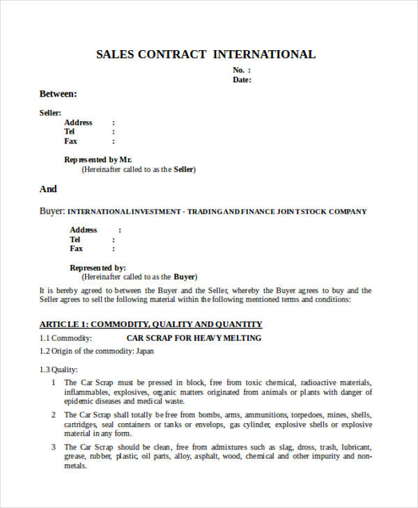 37 Contract Forms in Doc - car sales contract sample