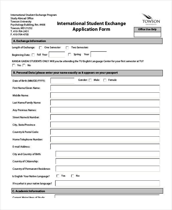 31 Student Application Form Examples