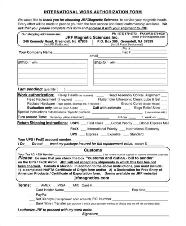 Blank Authorization Forms - Work Authorization Form