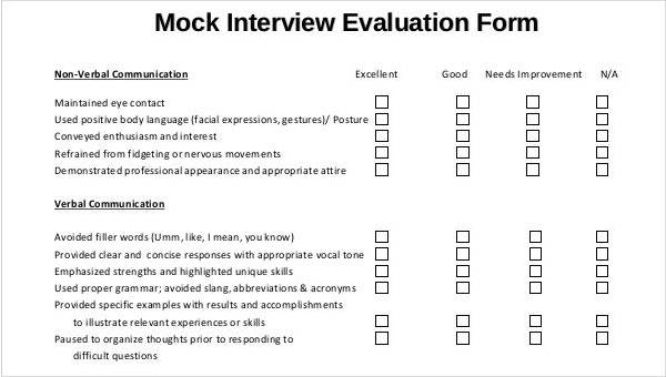 Interview Evaluation Form Templates
