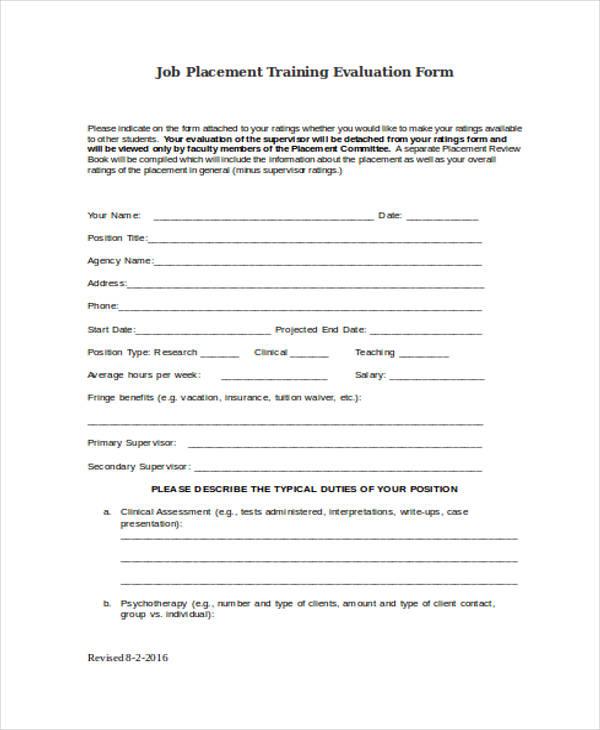 Doc#600630 On the Job Training Evaluation Form u2013 19 Sample - training assessment form